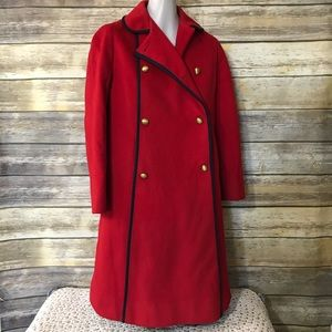 Vintage Rothschild Red Pea Coat Navy Piping